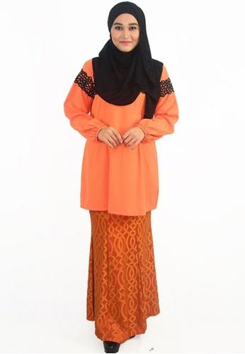 Denai Boutique orange Baju Kurung Anggun Seera B7614AA019BE0CGS_1