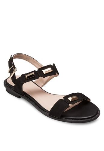 鉚esprit outlet 桃園釘雙帶繞踝平底涼鞋, 女鞋, 涼鞋