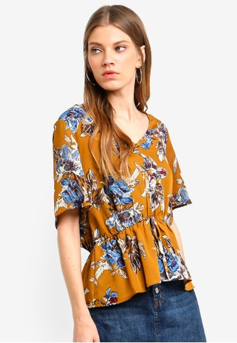 Brave Soul brown Short Sleeve V Neck Top With Frill Bottom 3962DAA3441DCCGS_1