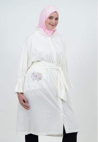 Bait Al Hijaab white Oversized Cotton Dress Shirt 5ECEFAA8DBE613GS_1