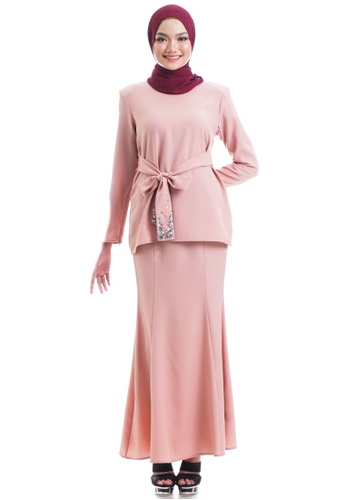 Ashura pink Sahariah Kurung With beads belted FAD61AA9DBA6B0GS_1
