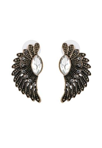 Red's Revenge gold Vintage Wings & Gem Stud Statement Earrings RE144AC0SJ5BMY_1