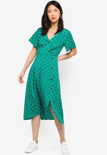 ZALORA BASICS green Basic Asymmetric Tea Dress C14BBAA3B08D11GS_1