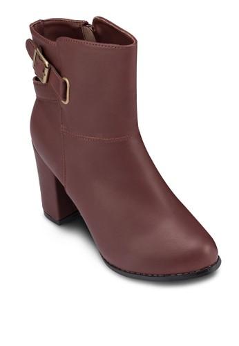 扣環仿皮zalora 男鞋 評價粗跟踝靴, 女鞋, 鞋
