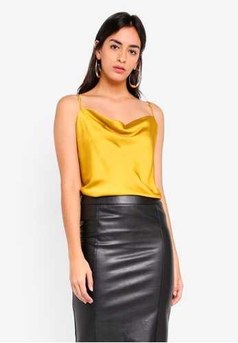 River Island yellow Cowl Neck Cami Top 8AB0FAAE8BCD4EGS_1