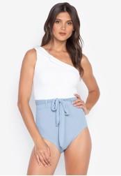 Kats Clothing white and blue Venus Cut Monokini with Ribbon 91BFEUS3F3E5C8GS_1