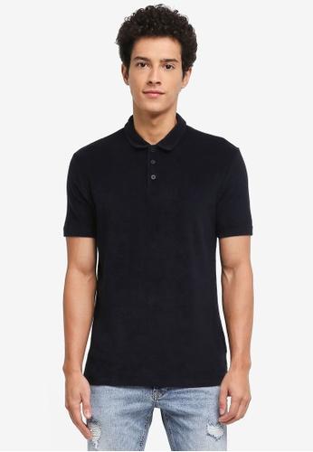 Topman navy Short Sleeve Slim Towelling Polo Shirt DE7EBAACEE7C59GS_1