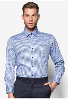 Tapered Fit Long Sleeve Shirt With Micro Print
