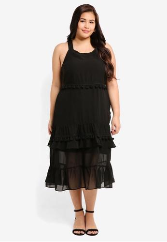 LOST INK PLUS black Plus Size Dress With Tassle Trim 3245AAA415695EGS_1