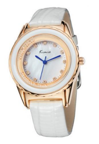 Eyki white and silver Eyki Kimio KW512 Ladies Rosegold-plated White Leather Watch (RoseGold White) EY078AC86RNXMY_1
