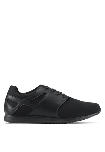 ZALORA black Mixed Materials Trainers 8E70ESH4FD55F6GS_1