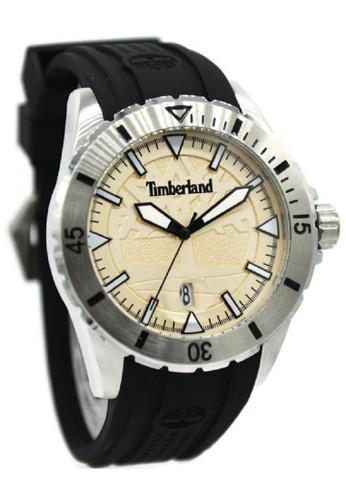 Timberland 15024JS-07P Jam Tangan Pria Rubber Strap Hitam Ring Silver Plat Cream