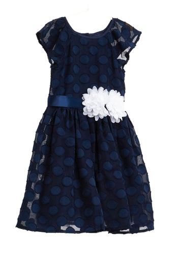 OVS blue Polka Dot Weave And Flowers Dress 01564KAA01184FGS_1