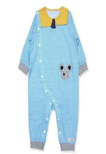 Organic mom blue Organic Cotton Adam Mouse New Born Swaddle Gown A0AD5KA24CD149GS_1