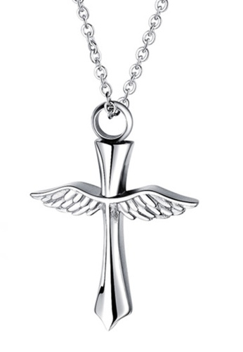 CUFF IT silver Angel's Wings Cross Stainless Steel Openable Storage Necklace 27BFEAC1DEA121GS_1