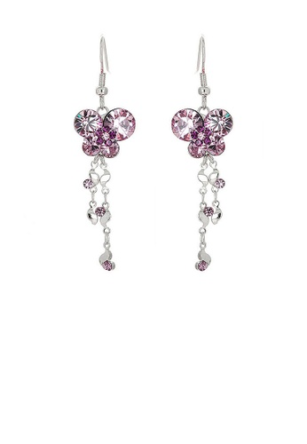 Glamorousky purple Dazzling Butterfly Earrings with Tassels and Purple Austrian Element Crystals 0E883AC4DA283DGS_1