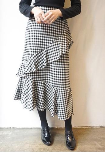 格子荷葉疊加長裙, 服飾esprit tw, 長裙