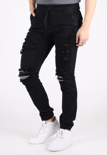 Meitavi's Menswear Black Layer Rip Off Jogger Soft Jeans