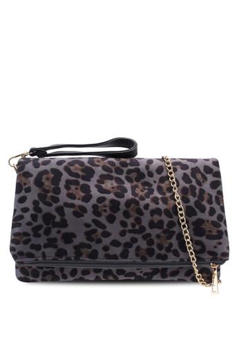 Red's Revenge grey Leopard Spots Fabric Foldover Clutch D3260ACD54391DGS_1