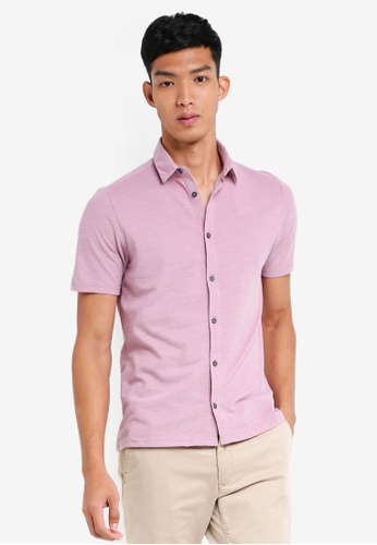 Burton Menswear London pink Orchid Pink Short Sleeve Two Tone Pique Shirt D1B57AACE73412GS_1