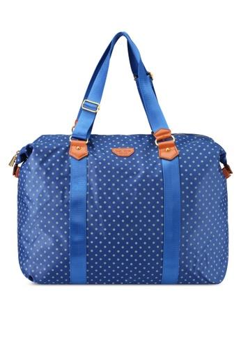 NUVEAU blue Pu-Trimmed Nylon Travel Bag NU245AC0SRYPMY_1