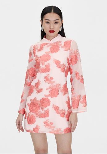Pomelo pink Qipao Long Sleeve Dress - Pink F0ECAAA10BD355GS_1