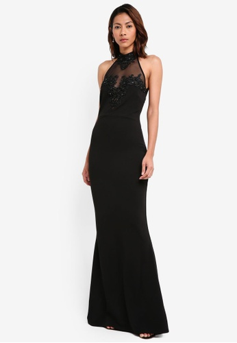 Goddiva black Halter Neck Maxi Dress With Embellished Mesh Detail 23C87AA1968A9AGS_1