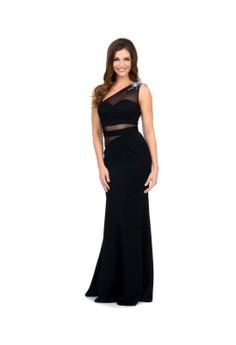 Unique Prom Exclusive Black One Shoulder Mesh Cutout Gown