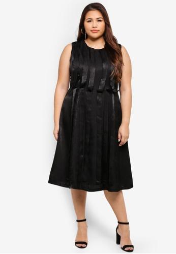 ELVI black Plus Size Ribbon Detail Dress 5F501AAFC8163DGS_1