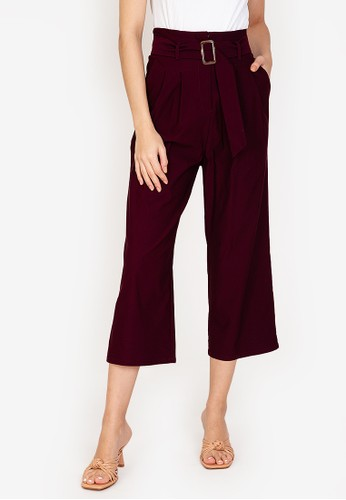 ZALORA WORK red Belted Cropped Trousers 81A14AA95ABC8EGS_1