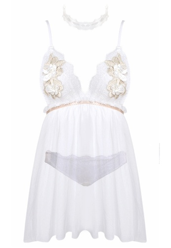 SMROCCO white Eloise Lingerie Nightie Dress PM8068 (White) 76492AA413A396GS_1