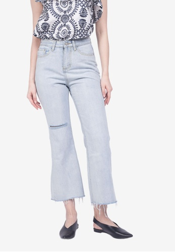 Caoros blue Ripped Wide Leg Jeans 33C12AABD8660FGS_1