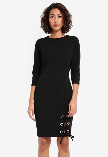 Dorothy Perkins black Eyelet Hem Tie Bodycon Dress DO816AA0SKRQMY_1