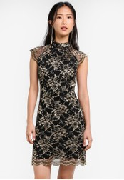 ZALORA black and gold Placement Lace High Collar Raglan Dress 58838AABF1B766GS_1