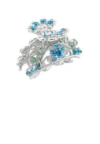 Glamorousky green Elegant Clamp with Green and Blue Austrian Element Crystals 3772BACE264BD7GS_1