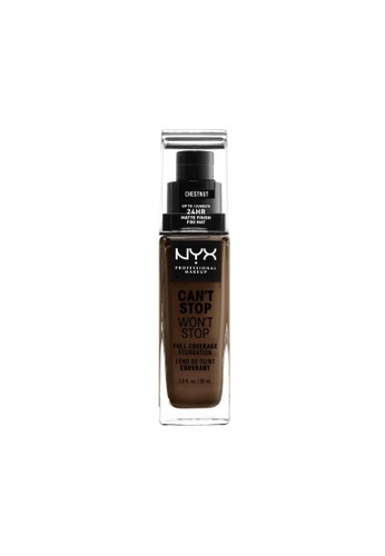 NYX Professional Makeup brown NYX Professional Makeup Can't Stop Won't Stop 24HR Foundation - CHESTNUT 330FFBEF8B008AGS_1