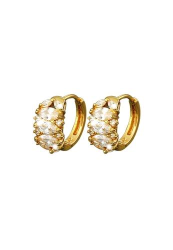 Fur Nyce gold Elegant Cubic Zirconia Huggie Earrings FU779AC51TZWMY_1