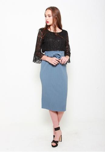 Sophialuv blue As You Pleat Midi Skirt in Periwinkle 9540FAAAFF43AEGS_1