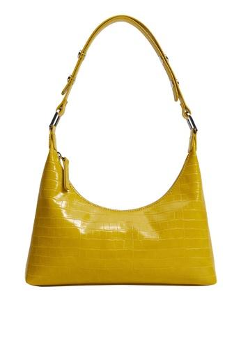 Mango yellow Croc-Effect Baguette Bag D94A8ACC571E7BGS_1