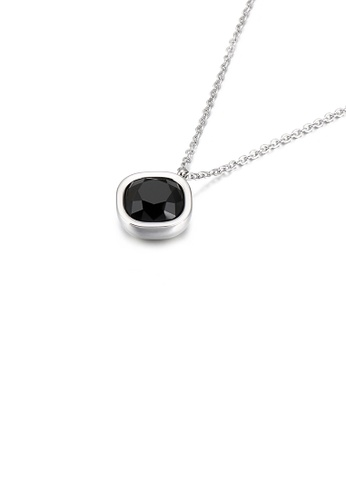 Glamorousky black Simple and Fashion Geometric Square Black Cubic Zirconia 316L Stainless Steel Pendant with Necklace 94BD0ACA5D4DAAGS_1