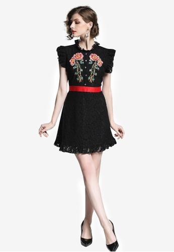 Sunnydaysweety black Lace Sleeveless Tunic One Piece Dress 692ADAA153BC48GS_1