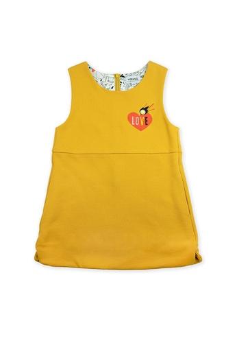 Vauva yellow Vauva Girls Stars One-Piece Dress - Yellow 81E73KAEF54662GS_1