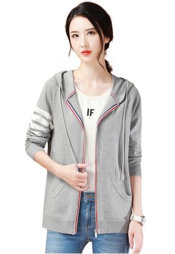 A-IN GIRLS grey Fashion Zip Hooded Knit Coat 06395AA8EFAAFDGS_1