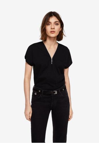 Mango black Zip T-Shirt BF32CAA57A6772GS_1