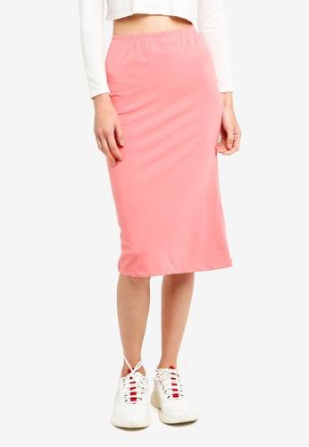 Brave Soul orange Plain Pencil Skirt EF98FAA695BC04GS_1