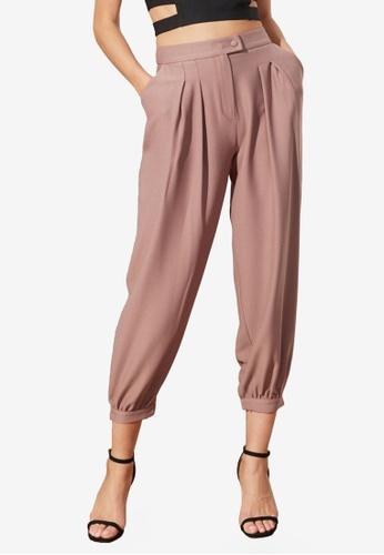 Trendyol 紫色 Pleated 慢跑Style 長褲 6FCC2AA9188F77GS_1