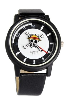 Ibeli Leather Watch with Second Hand Rotating Pirate Skull Design