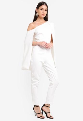 Lavish Alice white One Shoulder Cape Jumpsuit F006CAAC92F288GS_1