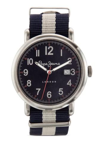 esprit 台灣R2351105014 Charlie 條紋尼龍帶手錶, 錶類, 飾品配件