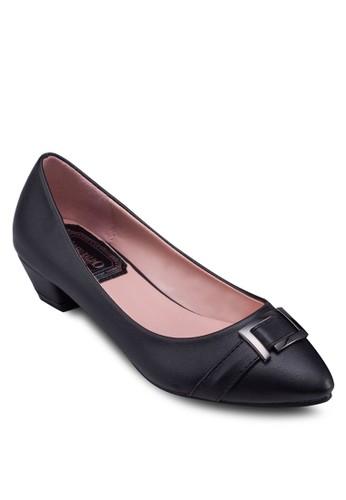 PU 扣環尖頭zalora taiwan 時尚購物網低跟鞋, 女鞋, 厚底高跟鞋